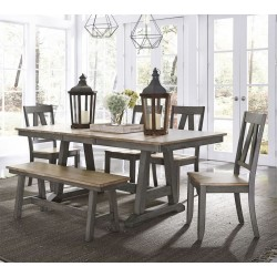 Lindsey Farm 6 Pc. Trestle Table Set