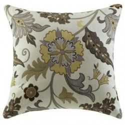 Yellow and Brown Flower Accent Pillow - Set of 2