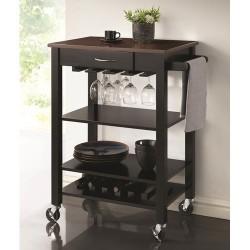 Kitchen Carts Black/Cherry Kitchen Cart with Butcher Block Top